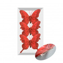 Christmas Clip on Butterflies (3 Pack) Red