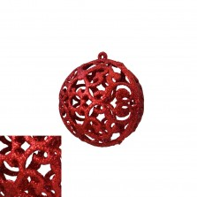 Christmas Glitter Lace Bauble Red