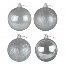 Christmas Giant Luxury Baubles (4 Pack) Silver