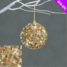 Christmas Mini Tinsel Baubles (12 Pack) Champagne