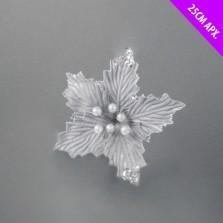Christmas Poinsettia Flower Clip Decoration 25cm Silver