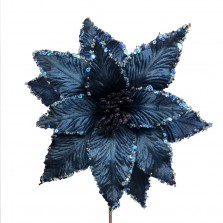 Christmas Luxury Poinsettia 30cm Navy Blue