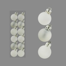 Christmas Mini Mixed Baubles 3cm (12 Pack) White