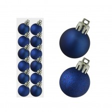 Christmas Mini Mixed Baubles 3cm (12 Pack) Navy Blue