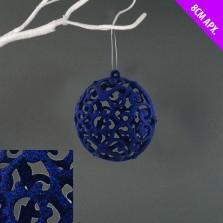 Christmas Lace Bauble 8cm Blue