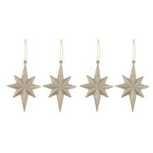 Christmas Glitter Star Hangers 4pack Champagne