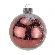 Christmas Clear Glitter Ball 15cm Red