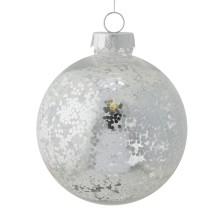 Christmas Clear Glitter Ball 15cm Silver