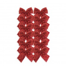 Christmas Tinsel Bows (8cm) Red