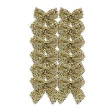 Christmas Tinsel Bows (8cm) Gold