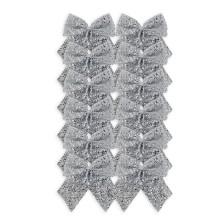 Christmas Tinsel Bows (8cm) Silver