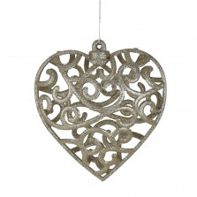 Christmas Glitter Lace Heart Bauble (Large) Champagne