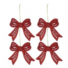 Christmas Glitter Bows 4pack Red