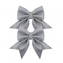 Christmas Luxe Glitter Bow Small (2 Pack) Silver