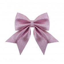 Christmas Luxe Glitter Bow Medium 25cm Blush Pink