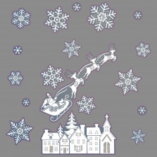 Christmas 3D Window Stickers - White/Silver