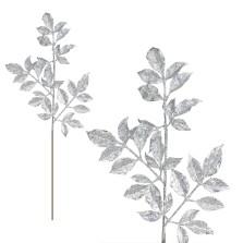 Christmas Glitter Leaves Spray 74cm Silver
