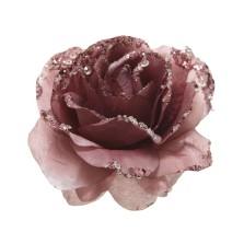 Glitter Clip Rose 14cm  Velvet Pink