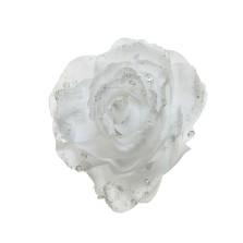 Glitter Clip Rose 14cm White