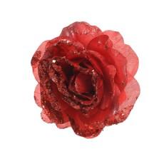 Christmas Glitter Clip Rose 14cm Red