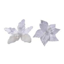 Christmas Luxe Poinsettia on Clip 12cm White