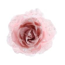 Glitter Clip Rose 14cm Blush Pink