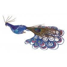 Clip on Christmas Peacock 21cm Blue