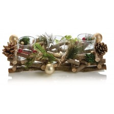 Christmas Triple Candle Holder - Natural Golden