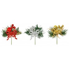 Christmas Glitter Bauble Bow Pick - Assorted