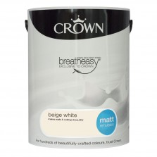 Crown Breathe Easy Emulsion Paint 5L Beige White (Matt)