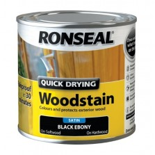 Ronseal Quick Drying Wood Stain 250ml Black Ebony Satin