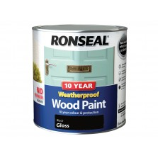 Ronseal 10 Year Weatherproof  Wood Paint Black Gloss 2.5L