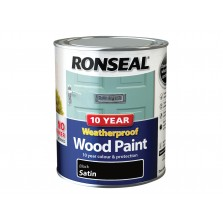 Ronseal 10 Year Weatherproof  Wood Paint Black Satin 2.5L