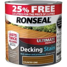 Ronseal Ultimate Protection Decking Stain 2L ( +25% Extra) Country Oak