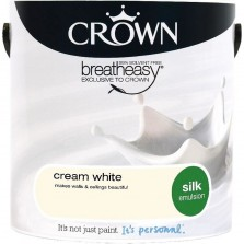 Crown Emulsion Paint 2.5L Cream White Silk