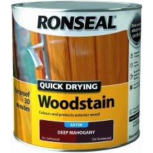 Ronseal Quick Drying Wood Stain Satin 750ml Deep Mahogany