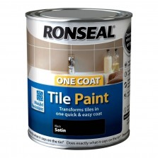 Ronseal One Coat Tile Paint  750ml Black Satin