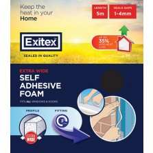 Exitex Extra Wide Self Adhesive Foam Draught Strip 5m Brown