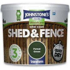 Johnstones One Coat Shed & Fence Paint 9L Forest Green