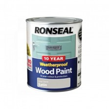 Ronseal 10 Year Weatherproof  Wood Paint Grey Stone Satin 750ml
