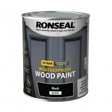 Ronseal 10 Year Weatherproof  Wood Paint Black Gloss 2.5L
