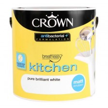 Crown Kitchen & Bathroom Paint 2.5L Brilliant White (Matt)