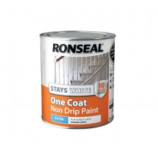 Ronseal Stays White One Coat Non Drip Satin Paint 750ml White