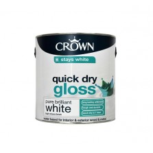 Crown Quick Dry Gloss Paint 750ml Pure Brilliant White