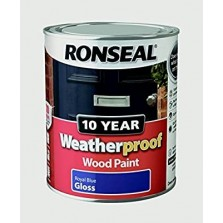 Ronseal 10 Year Weatherproof  Wood Paint Royal Blue Gloss 750ml