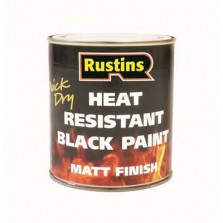 Rustins Heat Resistant Paint 250ml Black Matt