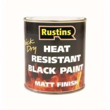 Rustins Heat Resistant Paint 250ml Black Matt
