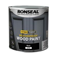 Ronseal 10 Year Weatherproof  Wood Paint Black Satin 2.5L