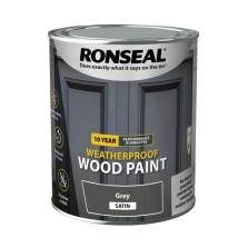 Ronseal 10 year Weatherproof  Wood Paint Grey Satin 2.5L