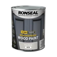 Ronseal 10 Year Weatherproof  Wood Paint Grey Stone Satin 750ml